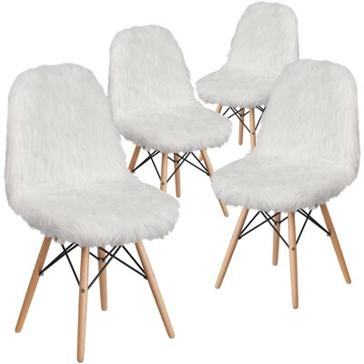 Alsop Shaggy Dog Side Chair Upholstery: White