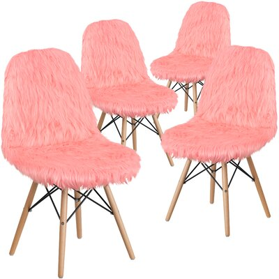 Alsop Shaggy Dog Side Chair Upholstery: Pink