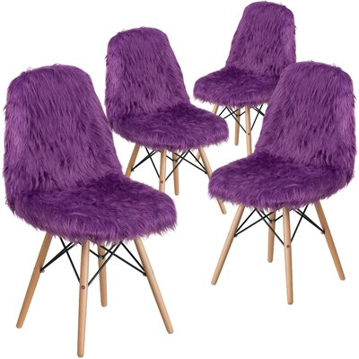Alsop Shaggy Dog Side Chair Upholstery: Purple
