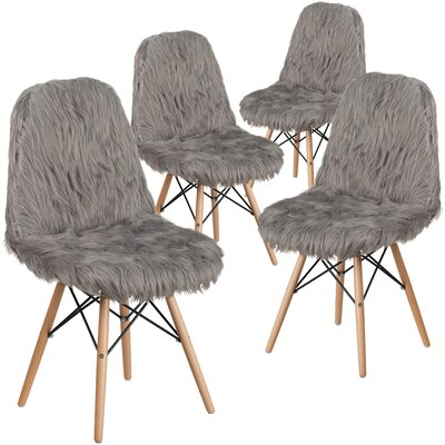 Alsop Shaggy Dog Side Chair Upholstery: Gray