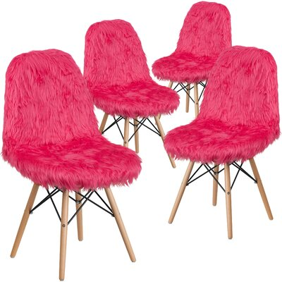 Alsop Shaggy Dog Side Chair Upholstery: Hot Pink