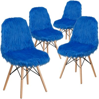 Alsop Shaggy Dog Side Chair Upholstery: Blue