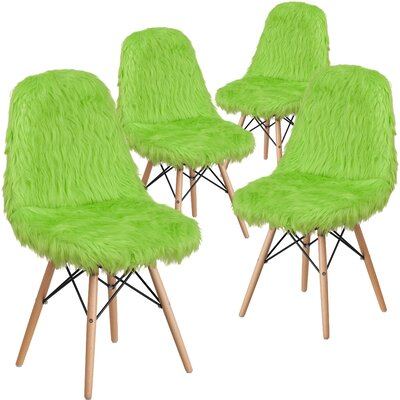 Alsop Shaggy Dog Side Chair Upholstery: Green