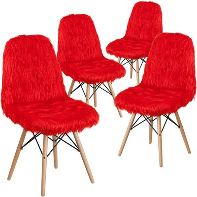 Alsop Shaggy Dog Side Chair Upholstery: Red