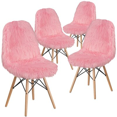 Alsop Shaggy Dog Side Chair Upholstery: Light Pink