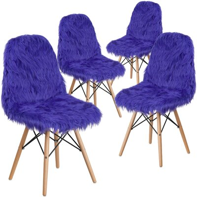 Alsop Shaggy Dog Side Chair Upholstery: Dark Blue
