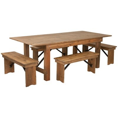 Pitre Rustic 5 Piece Dining Set Table Size: 30 H x 40 W x 96 L