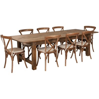 Pitre 9 Piece Dining Set Table Size: 30 H x 40 W x 96 L