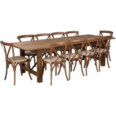 Pitre 11 Piece Dining Set Table Size: 30 H x 40 W x 108 L
