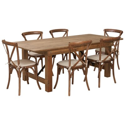 Pitre Rustic 7 Piece Dining Set Table Size: 30 H x 40 W x 84 L