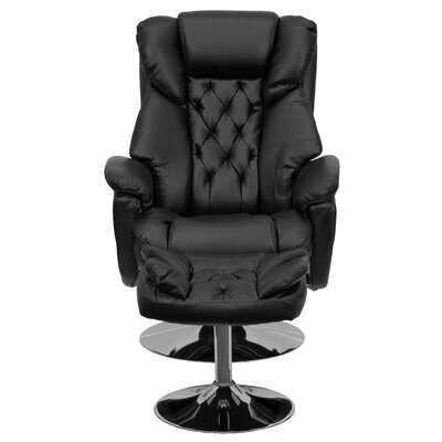Beno Transitional Leather Swivel Recliner with Ottoman