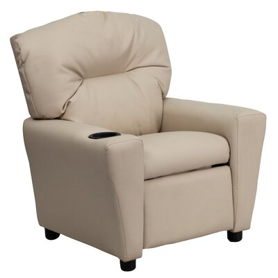 Contemporary Kids Leather Recliner with Cup Holder Upholstery: Vinyl - Beige BT7950KIDBGE
