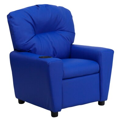 Contemporary Kids Recliner with Cup Holder Upholstery: Vinyl - Blue BT7950KIDBLUE