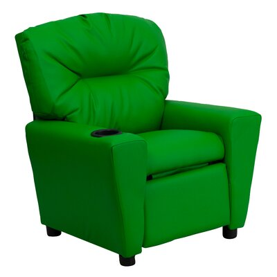 Contemporary Kids Leather Recliner with Cup Holder Upholstery: Vinyl - Green BT7950KIDGRN