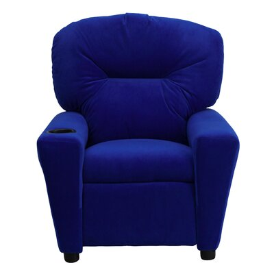 Contemporary Microfiber Kids Recliner with Headrest and Cupholder Color: Blue