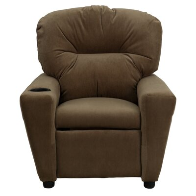 BT-7950-KID-MIC-BRWN-GG Contemporary Brown Microfiber Kids Recliner with Cup 294087
