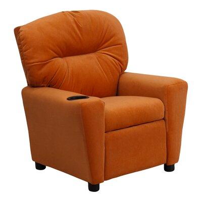 Contemporary Kids Recliner with Cup Holder Upholstery: Vinyl - Orange BT7950KIDORANGE