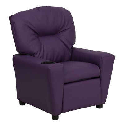 Contemporary Kids Recliner with Cup Holder Upholstery: Vinyl - Purple BT7950KIDPUR