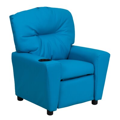 Contemporary Kids Recliner with Cup Holder Upholstery: Vinyl - Turquoise BT7950KIDTURQ