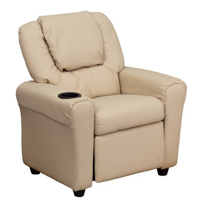 Contemporary Kids Recliner with Cup Holder Color: Beige DGULTKIDBGE