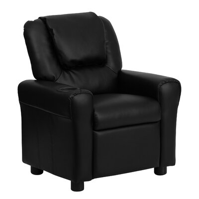Contemporary Kids Recliner with Cup Holder Color: Black DGUTLKIDBK