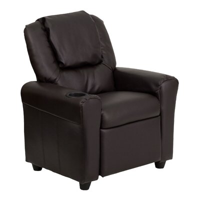 Contemporary Kids Recliner with Cup Holder Color: Brown DGULTKIDBRN