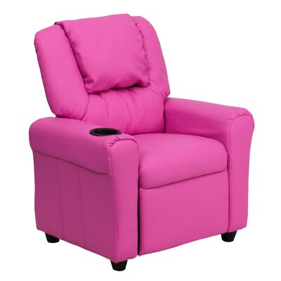 Contemporary Kids Recliner with Cup Holder Color: Hot Pink DGULTKIDHOTPK