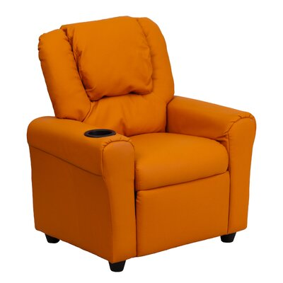 Contemporary Kids Recliner with Cup Holder Color: Orange DGULTKIDORANGE