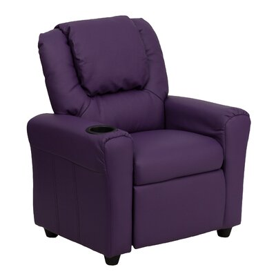 Contemporary Kids Recliner with Cup Holder Color: Purple DGUTLKIDPUR