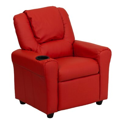 Contemporary Kids Recliner with Cup Holder Color: Red DGULTKIDRED