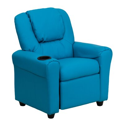Contemporary Kids Recliner with Cup Holder Color: Turquoise DGULTKIDTURQ
