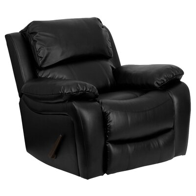 Leather Rocker Recliner Upholstery: Black