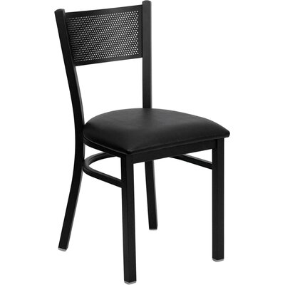 Picture of FlashFurniture Hercules Series Grid Back Side Chair Seat Finish: Black Vinyl in Large Size
