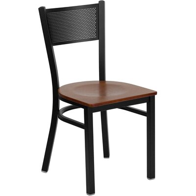 Low Price FlashFurniture Hercules Series Grid Back Side Chair Seat Finish: Cherry Wood