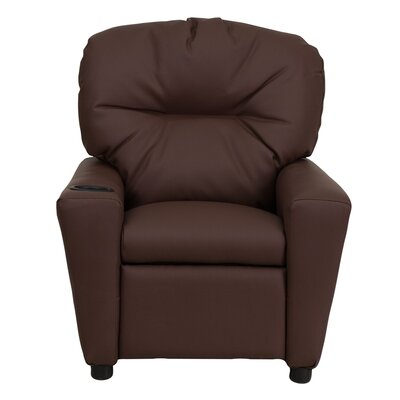 Contemporary Kids  Recliner with Cup Holder BT-7950-KID-BRN-LEA-GG