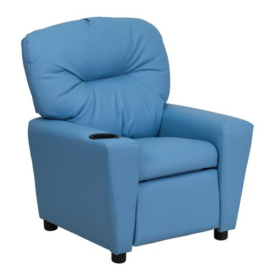 Contemporary Kids Leather Recliner with Cup Holder Upholstery: Vinyl - Light Blue BT7950LTBLUE