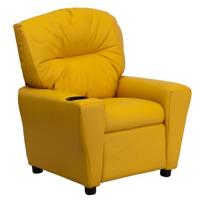 Contemporary Kids Recliner with Cup Holder BT7950KIDYEL