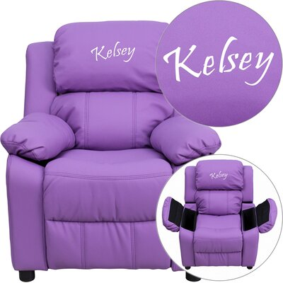 Personalized Kids Recliner Upholstery Type - Color: Vinyl - Lavender image