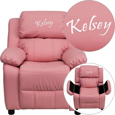 Personalized Kids Recliner Upholstery Type - Color: Vinyl - Pink image