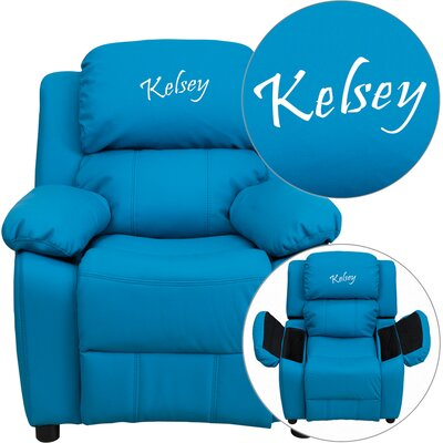 Personalized Kids Recliner Upholstery Type - Color: Vinyl - Turquoise image