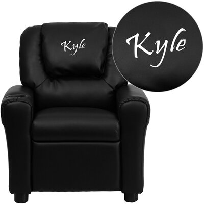 Deluxe Contemporary Personalized Kids Recliner with Cup Holder DG-ULT-KID+-BK-EMB-GG