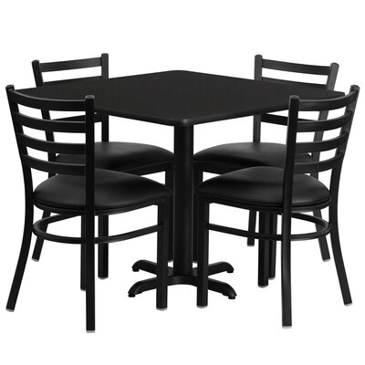 5 Piece Dining Set Finish: Black