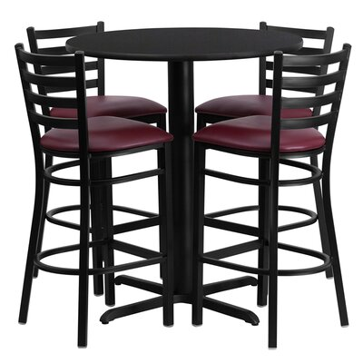 Wen 5 Piece Pub Table Set Color: Black