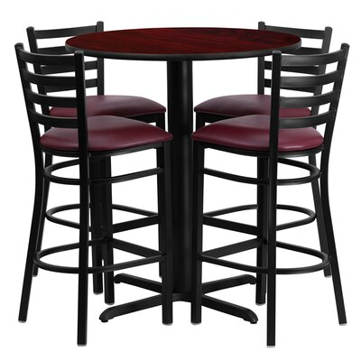 Wen 5 Piece Pub Table Set Color: Mahogany