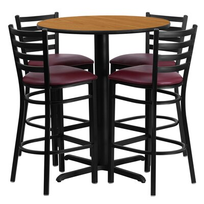 Wen 5 Piece Pub Table Set Color: Natural