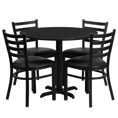 Yunpeng 5 Piece Dining Set Finish: Black