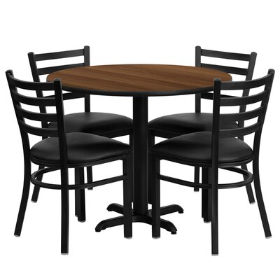 5 Piece Dining Set Finish: Walnut
