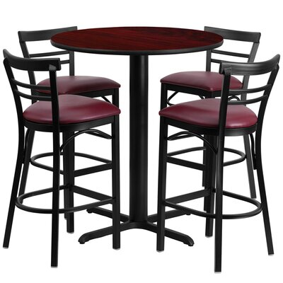 Kangwei 5 Piece Pub Table Set Color: Mahogany