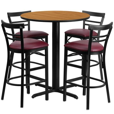 5 Piece Pub Table Set Finish: Natural