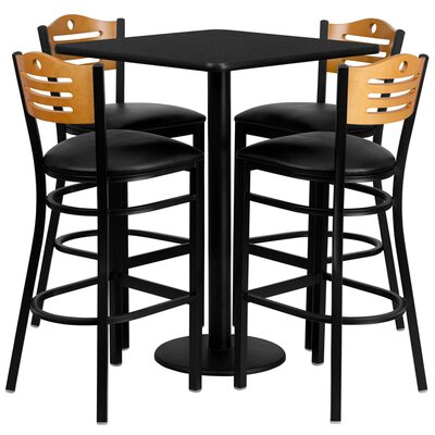 Joyeta 5 Piece Pub Table Set in Black